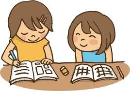 子供が勉強しているイラスト