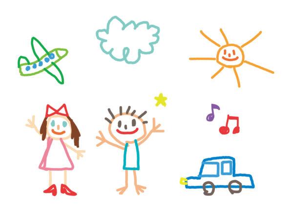 子供が描いた人物や車、飛行機、雲、太陽の絵