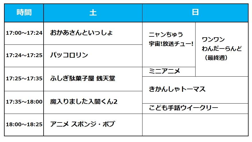 NHK Eテレ番組改編 土日夕方のタイムテーブル一覧表